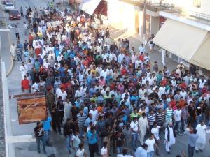 Η διαδήλωση των Πακιστανών μεταναστών στους δρόμους της πόλης πηγή: ΑΠΕΛ